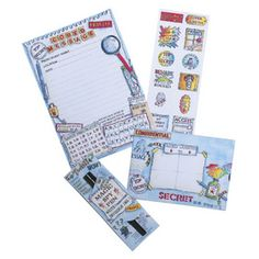 Secret Agent Activity Pack 3 sheets of notepaper, 3 matching envelopes, 12 stickers and an invisible ink pen Stationery Companies, Stationery Set, Stationary, Spy Party, Party Gifts, Secret Location, Creative Activities, Note Paper, Recipe Cards
