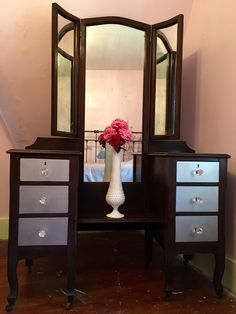 Antique Vanity on casters. SOLD