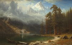 """Albert Bierstadt """"Mount Corcoran"""" Oil on canvas Located in the National Gallery of Art, Washington DC, United States Mount Corcoran is a part of the Sierra Nevada, a mountain. Mountain Landscape, Landscape Art, Landscape Paintings, Oil Paintings, Albert Bierstadt, National Gallery Of Art, Munier, Hudson River School, Walt Whitman"""