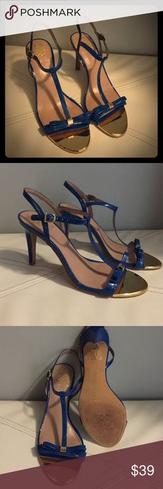 Price Drop⬇️Vince Camuto Strappy Bow Heels Super sexy, perfect for a wedding or a night out. Maybe worn a handful of times, great condition, leather upper, man made lining/sole. Gold plate in front, beautiful colors. Vince Camuto Shoes Heels