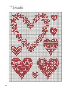 Cross Stitch Free chart クロスステッチフリーチャート: Heart full ♡ ハートがいっぱい Plein coeur