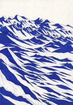 """illustration """"blue lines"""" serie by Kevin Lucbert (France) Art And Illustration, Illustration Design Graphique, Art Graphique, Mountain Illustration, Creative Illustration, Illustrations And Posters, Art Inspo, Kunst Inspo, Inspiration Art"""