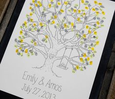 Large Thumbprint Tree Guest Book with Swing Detail (fits 160-220 guests) on Etsy, $80.00