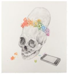 """""""Untitled (Alien Skull, i-Phone)"""", 16"""" x 17.75"""", pencil, colored pencil on paper, 2011 by Aurel Schmidt (from Oh.My.Gods. series)"""