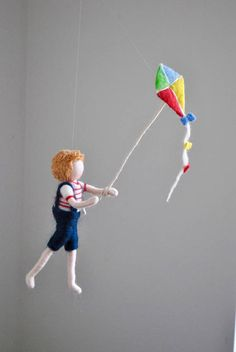Boys Room Decoration Needle Felted wall hanging doll : Boy