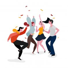Dancing party group illustration - Buy this stock vector and explore similar vectors at Adobe Stock People Illustration, Flat Illustration, Character Illustration, Graphic Design Illustration, Digital Illustration, Vector Illustrations, Silhouette Cameo Free, Motion Design, Vector Art