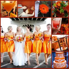 Lots of ideas for an orange themed wedding.