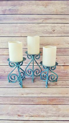 $65 Wrought Iron Candle Holders | Turquoise Candle Holders | Farmhouse Home Decor | Rustic Candle Holders | Rustic Wedding Decor by CraftyMcDaniel on Etsy https://www.etsy.com/listing/546324077/wrought-iron-candle-holders-turquoise