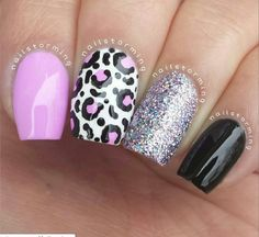 Pink and Black Cheetah Print Manicure Fabulous Nails, Gorgeous Nails, Pretty Nails, Leopard Nails, Pink Nails, Black Nails, Get Nails, How To Do Nails, Beautiful Nail Designs