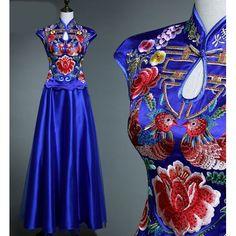Royal Blue Embroidered Vintage Style Cheongsam Wedding Evening Dress SKU-122083