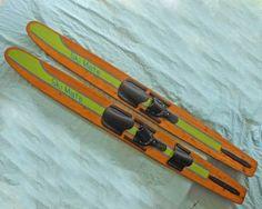 "Vintage Natural Varnished Wood Waterski Pair Combo Ski Mate Decor 65"""