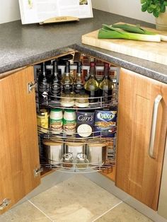 Kitchen Corner Storage Ideas Unique 13 if You Have A Corner Cabinet and Don Clever Kitchen Storage, Kitchen Storage Solutions, Kitchen Cabinet Storage, Storage Cabinets, Creative Storage, Corner Cabinets, Pantry Storage, Cabinet Space, Upper Cabinets