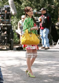 Actress Leighton Meester films on the set of 'Gossip Girl' on April 30, 2008 in New York City.
