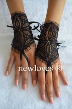 black lace gloves burlesque steampunk noir gypsy by newgloves, $25.00