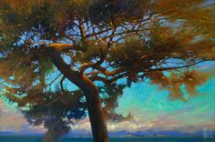 Coastal landscape painting 'Twisted Fir Sunset' Nanoose Bay by Brent Lynch at The Avenue Gallery, a contemporary fine art gallery in Victoria, BC, Canada.