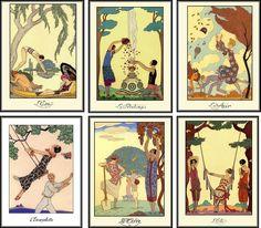 Vintage Art Deco George Barbier Assorted Illustrations Cards Tags ATC Set of 6 | eBay