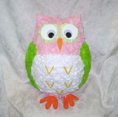 READY TO SHIP - Pink and Lime Green Owl Pinata -  20 Pull Strings. $38.00, via Etsy.