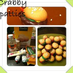 Krabby patties spongebob birthday party. Vanilla wafers for the buns. Green, yellow and red frosting on side of vanilla wafers. Grasshopper cookies for the meat in the hamburger. Squish together. Corn syrup and sesame seeds on top. Easy no bake!!