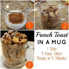 Making meals in a mug just may be my newest obsession! My son, Joey, and I saw a video on the Food Network on how to make 3quick and easy meals in a mug. We could hardly wait to try to make the french toast in a mug. Let's just say this recipe speaks to …