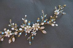 Blue Bridal Headpiece Blue Bridal hair vine Blue wedding