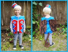 A flying monkey costume inspired by the Wizard of Oz. You can make this costume to fit kids or adults by using a T-shirt as a template.