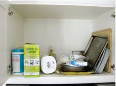 REMODELANDO LA CASA Before: Over-the-Fridge Frenzy Even though this cabinet was the perfect spot for bakeware, the lack of organization ended up making it a dumping area of random supplies Linen Closet Organization, Home Organization Hacks, Kitchen Organization, I Heart Organizing, Organizing Your Home, White Appliances, Declutter Your Home, House Cleaning Tips, Useful Life Hacks