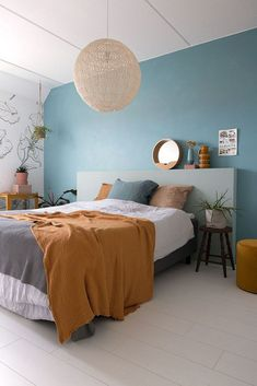 MY ATTIC / chalk paint on the wall / bed room / bed room / colourful inside / colour . Bedroom Wall Designs, Home Decor Bedroom, Bedroom Furniture, Ikea Bedroom, Extra Bedroom, Bedroom Ideas, Furniture Projects, Bedroom Interiors, Headboard Ideas