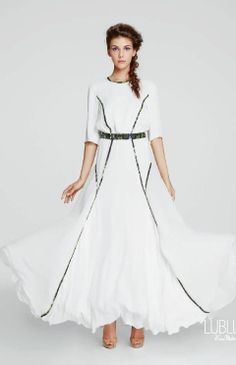 LUBLU Kira Plastinina SS14 white gown, Silk, echanted forest piping. lublukp.com