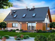Projekt domu Darlena 143,55 m2 - koszt budowy - EXTRADOM Marsala, Decoration, Solar Panels, House Plans, Garage Doors, Architecture, Outdoor Decor, Modern, Home Decor