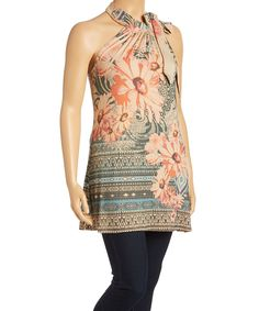 Beige Floral Tie Neck Tunic - Plus