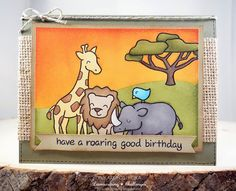 Lawn Fawn - Critters on the Savanna Lawn Fawn Stamps, Animal Fashion, Card Making Inspiration, Kids Cards, Birthday Cards, Happy Birthday, Birthday Celebration, Giraffes, Elephants