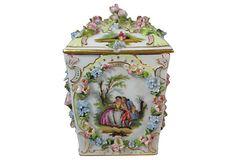 "Dresden Lidded Jar  -  Germany 19th. century  -  4""L x 4""L x 8""H  -  OneKingsLane. -  ($680.00)  $385.00"
