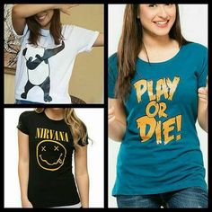 Pack of 3 - Panda, Play Or Die & Nirvana T-shirts for Women Pandas Playing, Deal Today, Nirvana, T Shirts For Women, Tops, Fashion, Moda, Fashion Styles, Fashion Illustrations