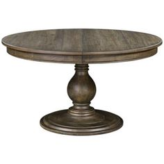Belfort Select Karlin Round Single Pedestal Dining Table With Bluestone Top - Belfort Furniture - Kitchen Table Washington DC, Northern Virginia, Maryland and Fairfax VA Round Wood Dining Table, Dining Table In Kitchen, Dining Tables, Pedestal Tables, Dining Rooms, Dining Area, Round Tables, Sofa Tables, Console Tables