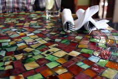 Mosaic table top, photo by Jenni/ sneakattackpython