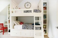 bunk beds with built-in bookcase and desk - our humble abode