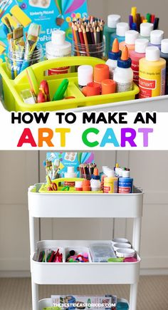 Kids craft storage ideas and the best supplies for kids crafts. Learn how to make your own art cart for storing kids art supplies. Kids Craft Storage, Storage Ideas, Arts And Crafts Storage, Easy Arts And Crafts, Art For Kids, Crafts For Kids, Kids Craft Supplies, Craft Kids, Storage For Art Supplies
