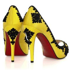 Peep Toe Yellow Heels.