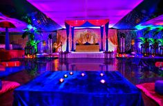 Mehndi setup,  Led Uplighting, perfect backdrop for a Mendhi Party. info@karizmaroadshow.com