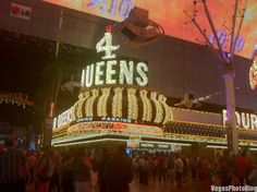 Beautiful 4 Queens Neon Sign At Night