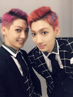 Kwangmin and Youngmin... at least they dyed their hair different colours, wouldn't have an easy time telling them apart otherwise