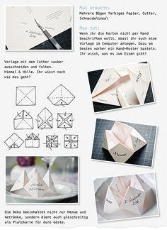 Ynas Design Blog, Tischdeko, DIY, Faltanleitung Himmel und Hölle