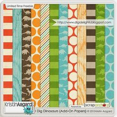 Quality DigiScrap Freebies: I Dig Dinosaurs paper pack freebie from Kristin Aagard