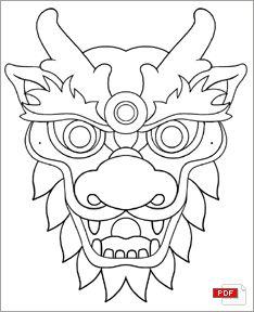 Masque Coloriage Masque Dragon Chinois Masque Dragon Et