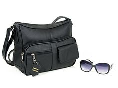 Handbag Purse with Cell Phone Holder comes with Many Pockets bundle with stylish sunglasses. Available in Black Color Material Leather....