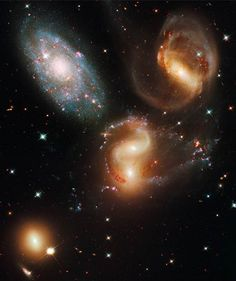 Hickson Compact Group 92, taken from Nasa's Hubble Space Telescope. Otherwise known as Stephan's Quintet, refers to a group of five galaxies.