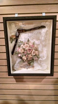 Wedding shadow box: things for me to add; bouquet, hanger, garter, hair pin, tulle from dress, invitation, 6 pence.
