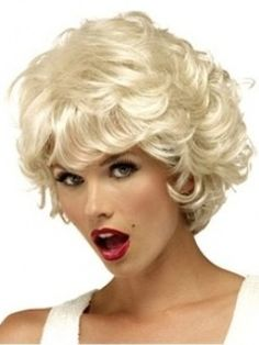 Platinum+Blonde+100%++Real+Human+Hair+Short+Wavy+about+8++Inches+Sexy+Wig