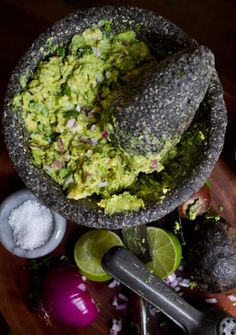 Guacamole  Serves 6 to 8 as an appetizer    3 ripe avocados  1/4 cup finely chopped red onion   1/2 jalapeño pepper, minced (more or less, to taste)  1/4 cup chopped cilantro leaves and upper stems  Pinch or two of coarse salt  Juice of one lime