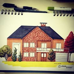 Fachada #croqui #art #architecture #arquitetura #arquitortura #arquitetapage #drawing #desenho #elevation #cute #art #arte #croqui #arquisemteta #sketch_daily #arch_land #archpage #arquitetando #house #casa #residencia #colorful #colorido #markers #render #handmade #handrender #arquisemteta #arquinews @arquinews #arts_help #art_empire @art_empire